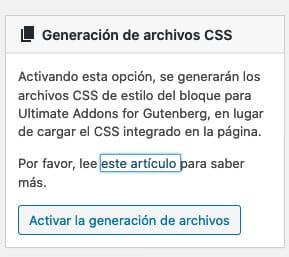 activar generacion de archivos